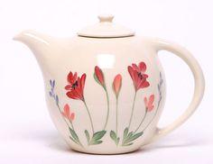 Red Poppy Ceramic Teapot