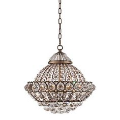 Wallingford Wide Antique Brass and Crystal Chandelier for over dining table, move grant chandelier to living room Kitchen Ceiling Lights, Semi Flush Ceiling Lights, Kitchen Lighting, Dining Table Chandelier, Light Installation, Room Lights, Sloped Ceiling, Antique Brass, Bulb