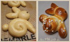 Lapins de Pâques mini-brioches Mes p'tits délices !! à partir de notre recette de brioche préférée ;-) le pas à pas en image pour former le lapin http://cuisinecrea.canalblog.com/archives/2013/03/31/26789854.html
