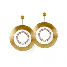 Sakamoto 18 Karat Yellow and White Gold Earrings with .76 Carat Diamond Jackets