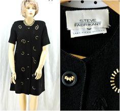 Black knit designer dress M / L 80s Steve by SunnyBohoVintage