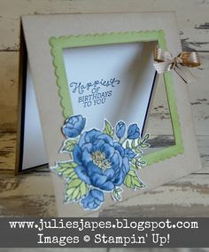 Birthday Blooms Aperture Card by Julie Kettlewell. www.juliesjapes.blpgspot.com #juliesjapes #stampinup #birthdaycard