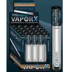 Vapor X Disposable Tobacco E-Cigarettes http://www.clickacig.com/p-330-vapor-x-disposable-tobacco-e-cigarettes.aspx Vapor X® disposable tobacco e-Cigarettes. Can last up to 500 puffs depending on length of inhalation. Contains 1.4 Nicotine Strength.