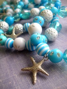 Children birthday party favor, aqua, turquoise, starfish, mermaid, ocean, beach themed. Set of TEN.