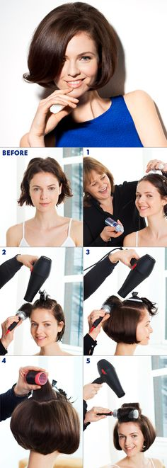 1. Apply mousse to the whole of the hair, comb through using a wide-toothed comb. 2. Blow-dry the hair using a large- barrelled brush to create volume 3. Blow-dry the crown area back to create extra volume. 4. Use hot rollers around the top of the hair to add extra height and a soft finish to the style. 5. Allow the rollers to completely cool before removing, brush the hair through with a natural bristle brush to give natural volume and shine. Finish with hairspray. #nivea #hair #style…