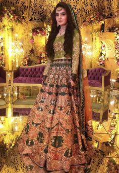 Wedding Bells🔔 Fatima looks Radiant in our festive ensemble Simple Mehndi Dresses, Simple Pakistani Dresses, Bridal Mehndi Dresses, Mehendi Outfits, Bridal Lehenga Choli, Bridal Outfits, Indian Dresses, Asian Wedding Dress Pakistani, Pakistani Mehndi Dress