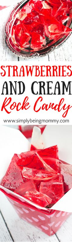 Making this Strawberries and Cream Rock Candy is fun! Plus, eating it isn't too bad either. via @simplymommy