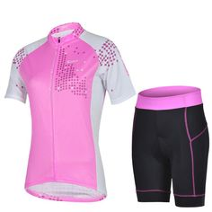 2015 Beautiful Women Cycling Jersey Sets Stylish Short Clothes And Pants  Pink Bicycle Clothes Suits Online ef3366eee