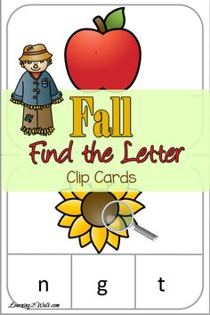 I love how fantastic and simple clip cards are. All you are need are clothespins and the cards themselves to work on any concept. These Fall Find the Letter Clip Cards are perfect for your little preschooler and Iam sure they wouldn't mind using their magnifying glass to find the hidden letters.  WHAT'S INSIDE THE FALLFIND THE LETTER CLIP CARD SET Inside you will find sheets with:   clip cards that are fall themed  hidden letters in each image   Helpful Tips You can use these clip cards…