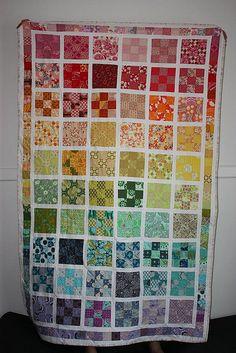 Rainbow quilt nine patch Quilting Designs, Quilting Projects, Sewing Projects, Quilting Ideas, Scrappy Quilts, Baby Quilts, Mini Quilts, Rainbow Quilt, Rainbow Room
