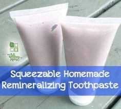This squeezable  homemade toothpaste contains coconut oil, xylitol, calcium carbonate, trace minerals & essential oils for oral health and remineralization.