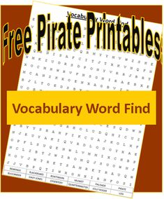Pirate Printables: Vocabulary Word Find