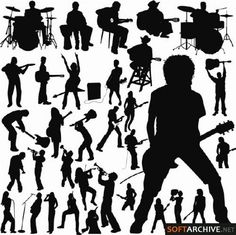 Stock vector - Musical Silhouettes