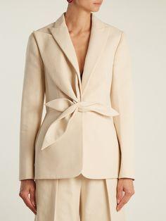 Delpozo Single-breasted draped-appliqué cotton jacket at MATCHESFASHION.COM