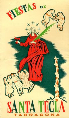 Cartel Fiestas Santa Tecla Tarragona Año 1959