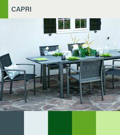 Collection Capri - table et chaises - faite d'aluminium et de verre acide trempé. | Capri collection - faite d'aluminium et de verre acide trempé.