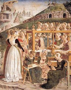 This is a detail from a large fresco located in the main salon of the Palazzo Schifanoia (length: 24 m, width: 11 m and height 7.5 m). Painted by Cosme Tura, Francesco Cossa, Baldassare d'Este and Ercole Roberti, ca.1476-84.