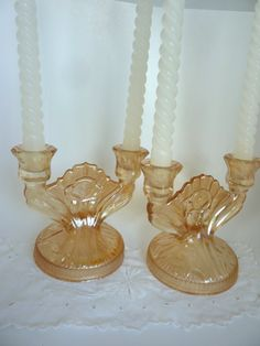 Pair Iris Double Candlesticks Iridescent by BonniesVintageAttic Candleholders, Candlesticks, Vintage Shops, Vintage Antiques, Antique Glassware, Mccoy Pottery, Pink Depression Glass, Fenton Glass, Vintage Dishes