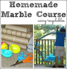 homemade marble course using recyclables -- hours of fun designing and building the marble course, along with hours of playing with the marble run!
