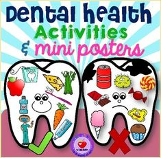 "This set of dental health activities helps students learn about healthy dental habits.It includes:- a cut-and-paste dental health sorting activity (black and white)- two mini posters with teeth showing healthy and unhealthy habits (color)- one mini poster showing tips on ""How can I keep my teeth healthy?"" (color)- one sort-and-color worksheet (""What is good and bad for your teeth?"")- one weekly recording sheet ""Did you brush your teeth?""Please check out the…"