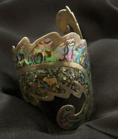 Antique 1920 Mexico Sterling Abalone Clamper by BuyVintageJewelry