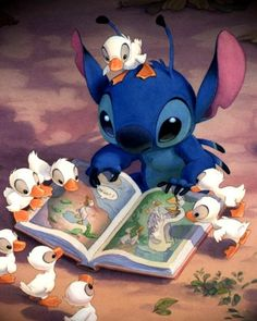 Stitch reading to the ducklings.