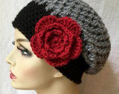 CAÍDA venta Crochet mármol gris Slouchy Beret por JadeExpressions