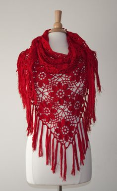 Crocheted red triangular shawl by Jutula on Etsy, $95.00