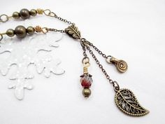 Bronze Charm Lariat Necklace Beaded Jewelry by LittleBitsOFaith, $27.00