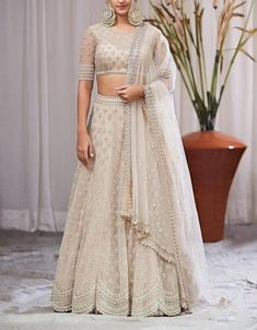 Ivory lehenga with silver zardozi hand work hindu wedding lehenga Anushree reddy lehenga - Ivory lehenga with silver zardozi hand work hindu wedding Indian Fashion Dresses, Indian Bridal Outfits, Indian Gowns Dresses, Dress Indian Style, Indian Designer Outfits, Bridal Dresses, Designer Dresses, Indian Designers, Party Dresses