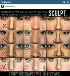 Master the Perfect Make-up How to Contour Your Body with Self-Tanner How to Contour for Different Face Shapes Contour, Blush, and Highlighter for Different Face Shapes Nose Makeup, Skin Makeup, Nose Contouring, Contouring And Highlighting, How To Blend Contouring, Makeup 101, Drugstore Makeup, Makeup Ideas, Makeup Tutorials