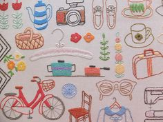 An embroidery sampler of everyday things in our lives. Embroidery Sampler, Cute Embroidery, Embroidery Patches, Cross Stitch Embroidery, Embroidery Patterns, Machine Embroidery, Diy Broderie, Emblem, Needlework