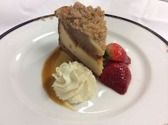 In honor of #NationalPieDay, may we suggest our Apple Pie Cheesecake which features a vanilla cookie crust, cinnamon streusel, and caramel sauce.  #FairviewDiningRoom