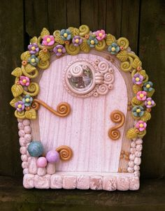 White and Pastel Fairy Door pixie portal in polymer clay by pinkchihuahuacrafts