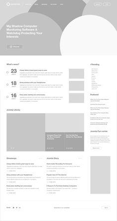 Joomla Hub Wireframe by Sơn Min on Dribbble Wireframe Web, Wireframe Mobile, Wireframe Design, Design Ios, Interface Design, Website Wireframe, Graphic Design, Layout Design, Website Design Layout
