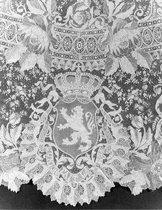Detail of Belgian coat of arms on Hapsburg Imperial wedding veil