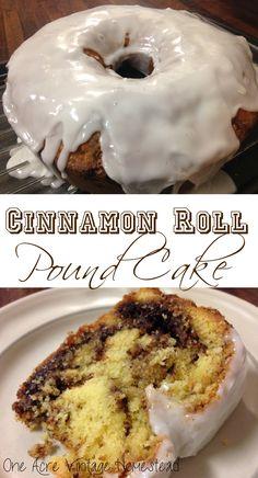 Cinnamon Roll Pound Cake ⋆ One Acre Vintage & Pumpkin Patch Mtn. - - Cinnamon Roll Pound Cake ⋆ One Acre Vintage & Pumpkin Patch Mtn. Brownie Desserts, Oreo Dessert, Köstliche Desserts, Delicious Desserts, Healthy Desserts, Perfect Pound Cake Recipe, Pound Cake Recipes, Easy Cake Recipes, Pound Cake Icing