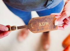 Our handmade leather luggage tag can be personalised with initials and symbols. Travel in style with one of our personalised luggage tags. Or give one as gift.