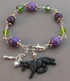 Black German Shepherd Dog Bracelet Amethyst Peridot Crystals