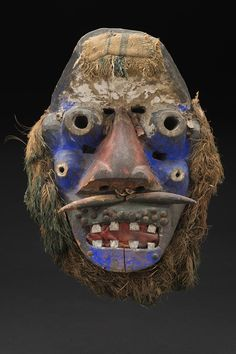 Ivory Coast Guéré people dance mask of polychrome wood, nails, string, fabric, and natural fibre, 18 x 10 x 5 inches45.7 x 25.4 x 12.7 cmM 180s  cavinmorrisgallery: