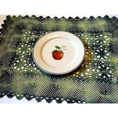 Newly Dyed Vintage Crocheted Placemats set of 3 (540 UAH) ❤ liked on Polyvore featuring home, kitchen & dining, table linens, handmade placemats, vintage placemats, crochet table mats and crochet placemats