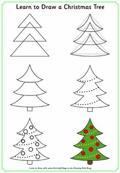 christmas drawings Learn to draw a Christmas tree for Christmas activity book - leave blank page next so children can practise Easy Christmas Drawings, Christmas Doodles, Easy Drawings For Kids, Drawing For Kids, Christmas Pictures, Christmas Art, Christmas Themes, Art For Kids, How To Draw Christmas Tree