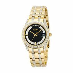 elgin men s textured watch and bracelet set bracelets watches elgin men s fg131 n crystal gold tone bracelet watch elgin 90 99 black dial