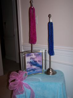 Beaded necklaces for gender reveal party. Wear the color u think the gender will be