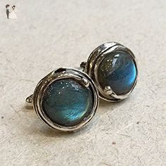 Labradorite Gemstone Silver organic round cuff links - Notorious Wind C8001 - Groom fashion accessories (*Amazon Partner-Link)