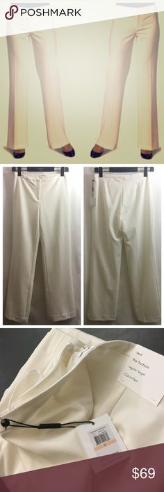 "CALVIN KLEIN ""The Hudson"" Eggshell Slacks M9AK7201 Sold out everywhere else! Modern essentials. Style: M9AK7201. Color: Eggshell. Women's size 2. MSRP79. Regular length. Versatile pants are fashioned in a stretchy, seasonless blend for all-day comfort. Zip fly with hook-and-bar closure. Polyester/rayon/spandex; dry clean. By Calvin Klein; imported. Narrative. 32.25"" Inseam. Calvin Klein Pants Straight Leg"