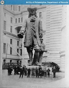 Currently on top of Philadelphia's city hall,This early photo shows how big William Penn really is!!