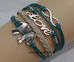 Charm love infinity braceletelephant bracelet  by CountrystyleDIY, $4.99