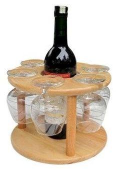 Wine bottle and glass holder #WoodworkingPlansWineRack
