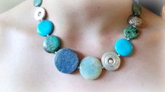 blue fosill coral, amazonite,turquoise,howlite sterling silver necklace - gemstone jewelry - Summer Jewelry -  Beach Jewelry
